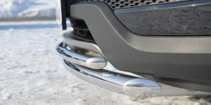 Hyundai Santa Fe 2012- Защита переднего бампера d63/42 (дуга)  HSFZ-001215
